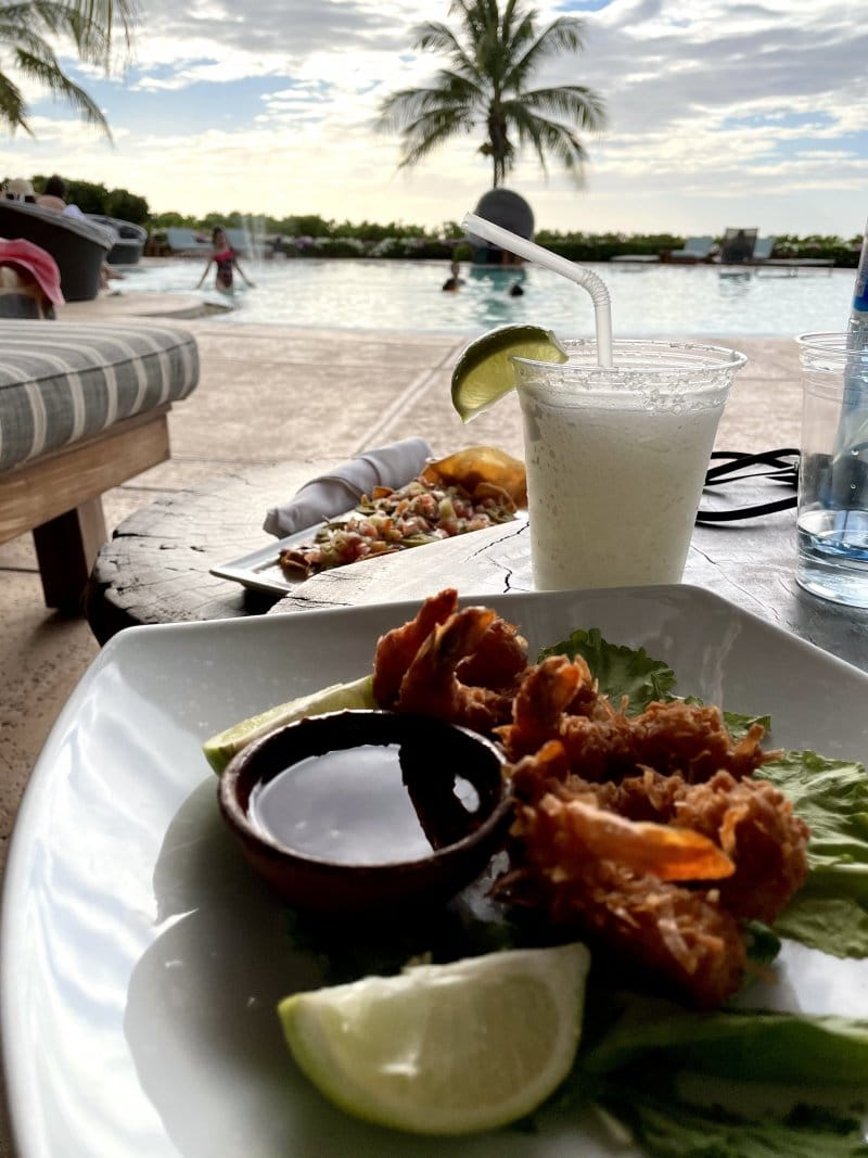 Delicious meal and tropical drink at the Rancho Santana restaurant in Nicaragua.